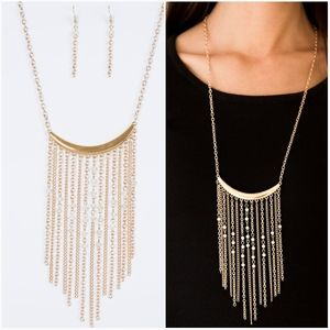 RUNWAY RUMBA GOLD NECKLACE/EARRING SET